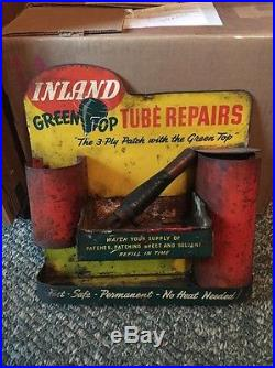 Vintage Green Top Tire Tube Repairs Display Sign