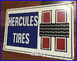Vintage Hercules Tires Painted Tin Advertising Sign Press Sign