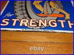 Vintage Hercules Tires & Tubes 20 Porcelain Metal Gasoline Oil Ds Flange Sign