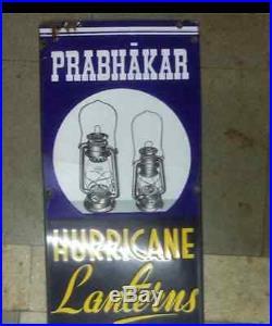 Vintage Hurricane Kerosene Lantern Oil Lamp Enamel Sign