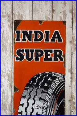 Vintage'India Super' Tyre Enamel Metal Sign Advert Ref 176/2