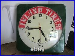 Vintage Inland Tires Lighted Clock Sign, 16 x 16