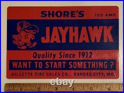 Vintage KU Kansas University Jayhawk Advertising Tires Sign KCMO Shores Early