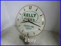 Vintage Kelly Springfield Tires Advertising Clock Sign, 10 diameter