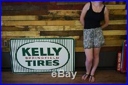Vintage Kelly Tires Metal Steel Sign 1965 Gas Station Service Garage Advertising