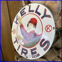 Vintage Kelly Tires Porcelain Metal Sign Oil Gas Service Station Garage USA Lady