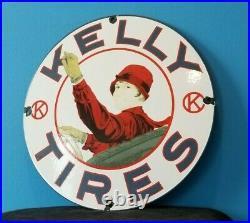 Vintage Kelly Tires Porcelain Service Station Auto Gas Dealer Pump Sign