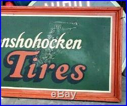 Vintage LEE Tires of Conshohocken Sign with Wood Frame Smile at Miles RARE