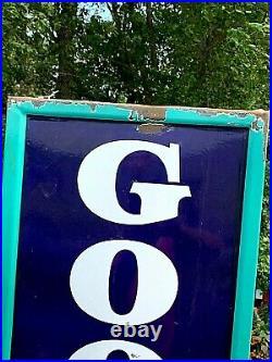 Vintage LG 78in Vertical Porcelain Goodrich Tire Battery Sign Gasoline Gas Oil