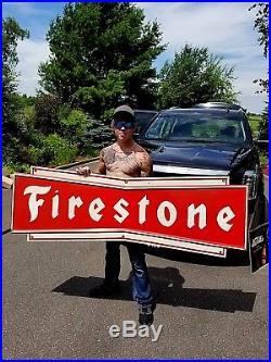 Vintage LG Heavy Metal Early Firestone Tires Bowtie Sign Gasoline Gas Oil 72X23
