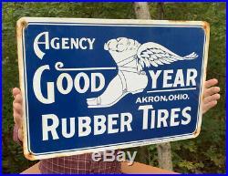 Vintage Large 24 Genuine Goodyear Rubber Tires Porcelain Sign Akron Ohio