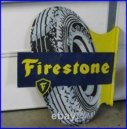 Vintage Large Firestone Double-sided Procelain Flange Sign
