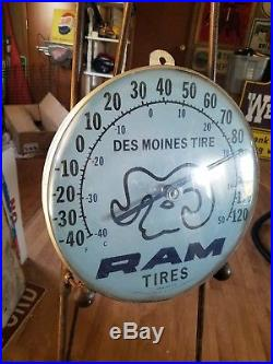 Vintage Large Ram Tire Tires Des Moines Iowa Thermometer Sign Jumbo Dial Ohio