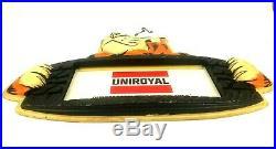 Vintage Large Uniroyal Tires Tiger Paws Dealership Advertising Sign 2 Sided