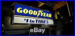 Vintage Lighted 2 sided Goodyear Tire Sign 1970's