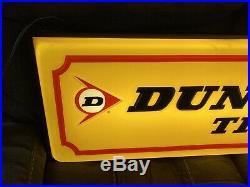 Vintage Lighted Dunlop Tires Tire Sign Light up Gas Station Oil Pump Dealer