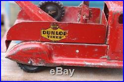 Vintage Lincoln Canada Dunlop Tires Tow Truck Original Paint Decals Garage Sign