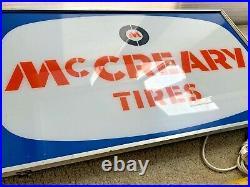 Vintage McCreary Tires Light Sign Metal Garage Shop man cave Gas Oil auto racing