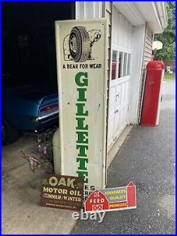 Vintage Metal 1960s Gillette Tire Sign Gasoline Gas Oil With Bear Tire Graphic