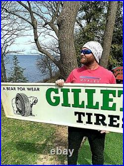 Vintage Metal 1963 Gillette Tire Sign Gasoline Gas Oil With Bear Tire Graphic 73in