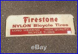 Vintage Metal Early Firestone Bicycle Tire Advert Sign Gasoline Gas Oil 25X8