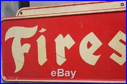 Vintage Metal Firestone Sign 24 X 74