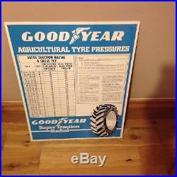 Vintage Metal Goodyear Agricultural Tyre Pressures Sign