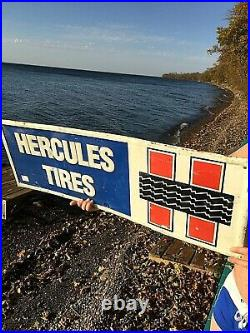 Vintage Metal Hercules Tires Sign Gasoline Gas Oil With Tread Graphic 36X12