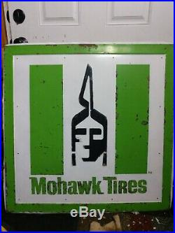Vintage Metal Sign Mohawk Tires Sign Reads MOHAWK TIRES Original Oil Gas Sign