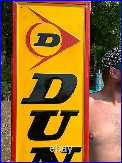 Vintage Metal Vertical Dunlop Tires Sign Gasoline Gas Oil