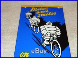 Vintage Michelin Bibendum Man On Bicycle Tires 8 Porcelain Metal Gas & Oil Sign