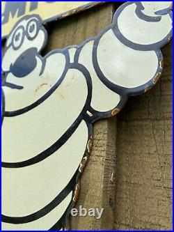 Vintage Michelin Man Porcelain Sign USA Oil Gas Pump Tyre Tires Auto Petroliana