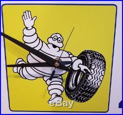 Vintage Michelin Man Tire Clock Advertising Sign 17 × 14 x 3 Works
