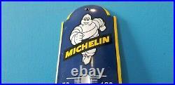 Vintage Michelin Porcelain Auto Gas Tires Bibendum Ad Sign Service Thermometer