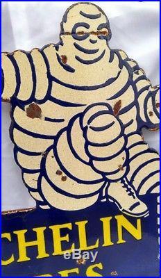 Vintage Michelin Tire Bibenbum Man Enamel Two Sided Flange Sign
