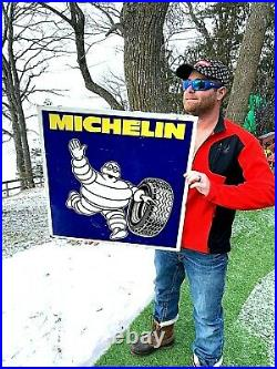 Vintage Michelin Tire Metal Gas Oil Service Station Rack Sign With Man Graphic