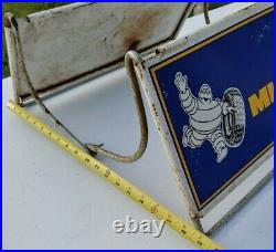 Vintage Michelin Tire Metal Stand Display Double-Sided Sign RARE