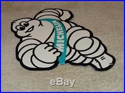 Vintage Michelin Tires Bibendum Man 9 Porcelain Metal Tire, Gasoline Oil Sign