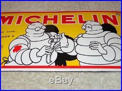 Vintage Michelin Tires Bibendum Man Cut 8 Porcelain Metal Gasoline & Oil Sign