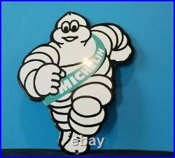 Vintage Michelin Tires Bibendum Man Porcelain Gasoline Door Push Sales Auto Sign