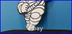 Vintage Michelin Tires Bibendum Man Porcelain Gasoline Oil Service Sign