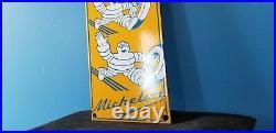 Vintage Michelin Tires Bibendum Man Porcelain Gasoline Oil Service Station Sign