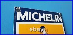 Vintage Michelin Tires Bibendum Porcelain Gas Pin Up Girl Service Station Sign