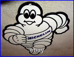 Vintage Michelin Tires Die-cut Man 12 Metal Tire Gasoline & Oil Sign Pump Plate
