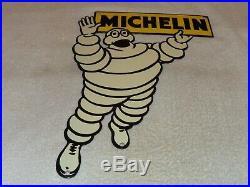 Vintage Michelin Tires Diecut Bibendum Man 20 Porcelain Metal Gasoline Oil Sign