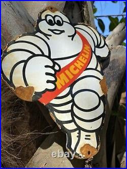 Vintage Michelin Tires Man Porcelain Metal Sign Gas Station Auto Service Car Red
