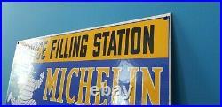 Vintage Michelin Tires Porcelain Gas Bibendum Service Auto Filling Station Sign
