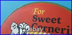 Vintage Michelin Tires Porcelain Gas Bibendum Service Auto Sweet Cornering Sign