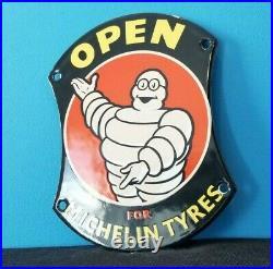 Vintage Michelin Tires Porcelain Gas Bibendum Service Auto Tyres Door Sign