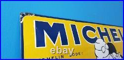 Vintage Michelin Tires Porcelain Gas Bibendum Service Station Convex Big Sign